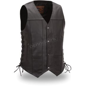 First Manufacturing Co. Black Top Biller Leather Vest - FIM-630-CFD-S