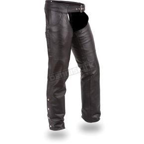 First Manufacturing Co. Black Stampede Leather Chaps - FIM-835-NOC-5X-2X