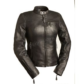 First Manufacturing Co. Women's Black Girl Power Leather Jacket - FIL-155-CCBZ-L
