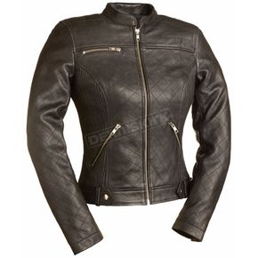 First Manufacturing Co. Women's Black Queen of Diamonds Leather Jacket - FIL-115-SCZ-2X