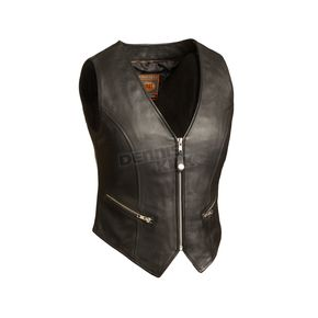 Women's Black The Montana Leather Vest - FIL-515-CSL-XL