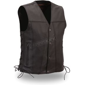 First Manufacturing Co. Black The Gambler Vest - FIM-618-CFD-L