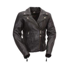 First Manufacturing Co. Women's Black Victoria Leather Jacket - FIL-170-CCBZ-M