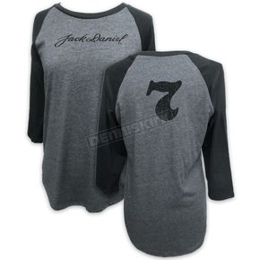 Jack Daniels Women's Gray #7 Raglan Shirt - 15361496JD-79-L