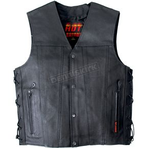 Hot Leathers Leather Vest w/2 Conceal Carry Pockets and Lace Up Sides - VSM1023M