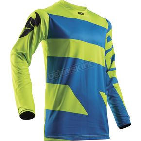 Thor Electric Blue/Lime Pulse Level Jersey - 2910-4353