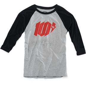 100% Heather Gray/Black Youth Bolt T-Shirt  - 34066-188-06