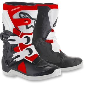 Alpinestars Kids Black/White/Red Tech 3S Boots - 2014518-1231-10