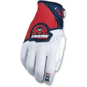 Moose Youth Red/White/Blue SX1 Gloves  - 3332-1183
