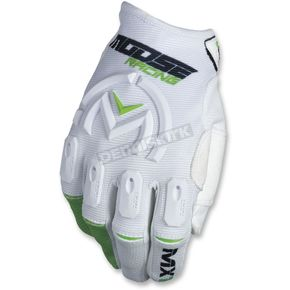 Moose White/Green MX1 Gloves - 3330-4518