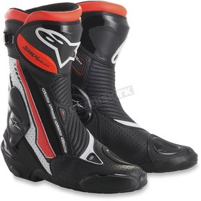 Alpinestars White/Black/Fluorescent Red SMX Plus Boots - 2221015-235-37