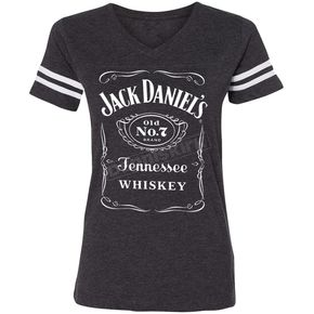 Jack Daniels Women's Charcoal Gray Label Football T-Shirt - 15361499JD-79-L