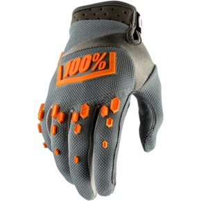 100% Gray Airmatic Gloves - 10004-007-10