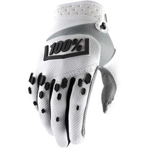 100% White/Black Airmatic Gloves - 10004-010-10