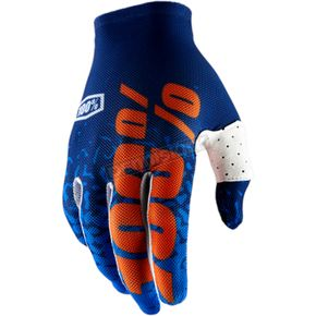 100% Celium 2 Flash Navy/Orange Gloves - 10009-015-12
