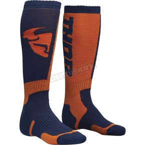 Thor Navy/Orange MX Socks - 3431-0377