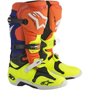 Alpinestars Orange/Blue/Yellow Tech 10 Boots - 2010014-475-13