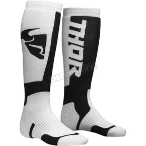 Thor Youth White/Black MX Socks - 3431-0386