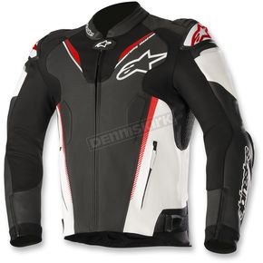 Alpinestars Black/White/Flo Red Atem Leather Jacket v3 - 3106518-1231-56