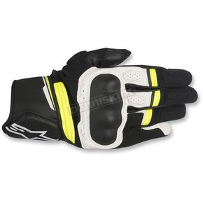 Alpinestars Black/White/Fluorescent Yellow Booster Leather Gloves - 3566917-125-L