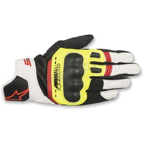 Alpinestars Black/Fluorescent Yellow/White/Fluorescent Red SP-5 Leather Gloves - 3558517-1503-S