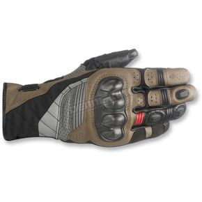 Alpinestars Black/Tobacco Brown/Red Belize Drystar Gloves - 352618-1813-2X