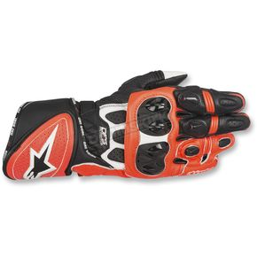 Alpinestars White/Black/Fluorescent Red GP Plus R Gloves - 3556517-233-S
