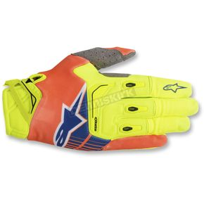 Alpinestars Yellow/Fl.Orange/Fl. Blue Techstar Gloves - 3561018-537-XL