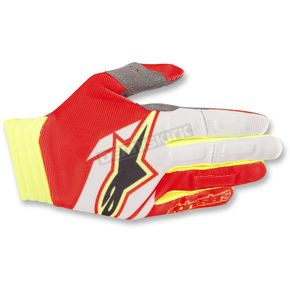 Alpinestars Red/White/Yellow Aviator Gloves - 3560318-305-2X