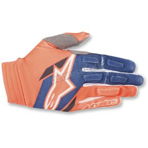 Alpinestars Orange/Blue Aviator Gloves - 3560318-470-XL