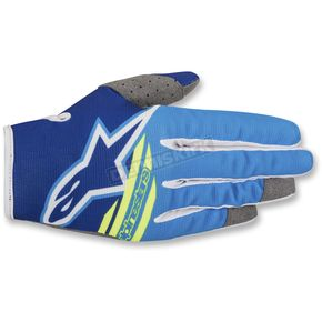 Alpinestars Blue/Aqua Blue/Yellow Radar Flight Gloves - 561818-7005-MD