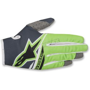 Alpinestars Anthracite/Fl. Green Radar Flight Gloves - 3561818-1460-LG