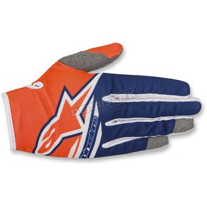 Alpinestars Fl. Orange/Dark Blue/White Radar Flight Gloves - 3561818-473-LG