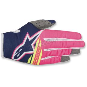 Alpinestars Pink/Blue Radar Flight Gloves  - 3561818-7032-XL
