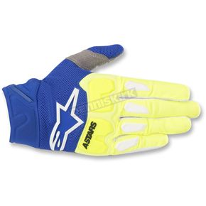 Alpinestars Fluo. Yellow/Blue Racefend Gloves - 3563518-557-LG