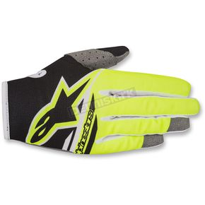 Alpinestars Youth Black/Fluo. Yellow Radar Flight Gloves - 3541818-155-SM
