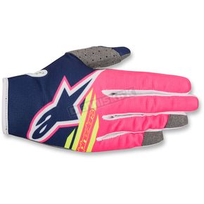 Alpinestars Youth Dark Blue/Fluo. Pink/White Radar Flight Gloves - 3541818-7032-SM