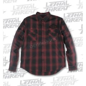 Lethal Threat Rust Built for Speed Plaid Long Sleeve Shirt - MG60100XXL