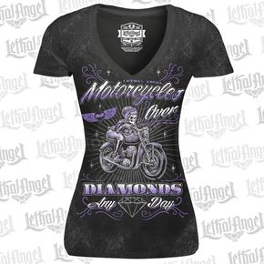 Lethal Threat Womens Black Motorcycle Over Diamonds T-Shirt - LT20430M