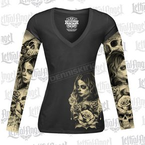 Lethal Threat Womens Long Sleeve Love N Death Tattoo Sleeve Shirt - LT20429M