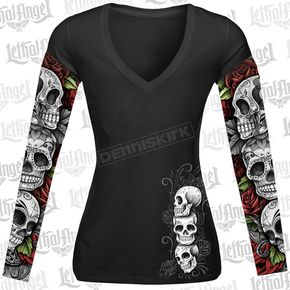 Lethal Threat Womens D.O.D. Rose Skull Tattoo Sleeve Shirt - LT20345S