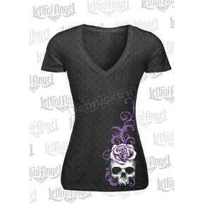 Lethal Threat Women's Corset Winged Skull Burnout T-Shirt - LT20454XL