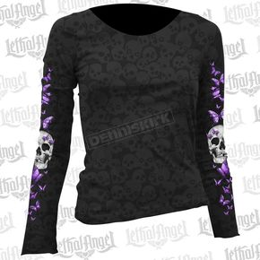 Lethal Threat Womens Butterfly Skull Burnout Long Sleeve Shirt - LT20403L