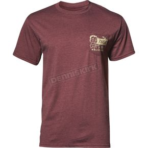 Thor Mens Burgundy Heather Delicious Pocket Tee Shirt - 3030-16069
