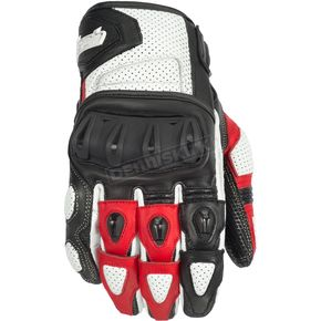Cortech White/Red Impulse ST Gloves - 8306-0101-09