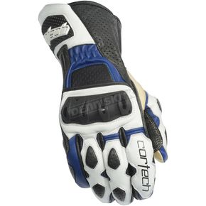 Cortech White/Blue Latigo 2 RR Gloves - 8391-0202-06