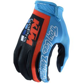 Troy Lee Designs Youth Navy/Cyan Air KTM Team Gloves - 406419334