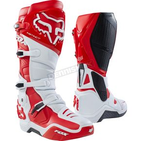 Fox White/Red Instinct Boots - 12252-077-8