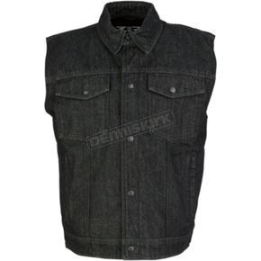Black Denim Vest - 2820-4486