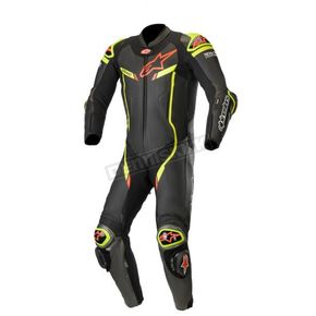 Black/Metallic Gray/Fluorescent Yellow GP Pro V3 Leather Suit Tech Air Compatible